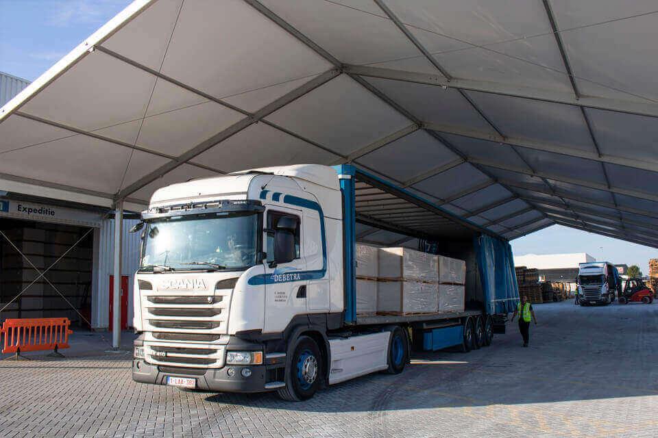 opslagtent knauf vrachtwagens